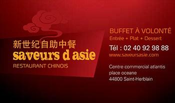 Carte de visite Saveurs d'Asie 44 St-Herblain